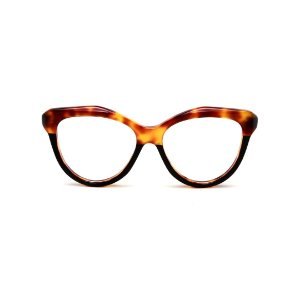 Armação para óculos de Grau Gustavo Eyewear G126 10. Cor: Preto e animal print. Haste preta.