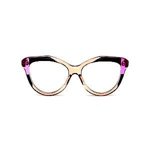 Armação para óculos de Grau Gustavo Eyewear G126 12. Cor: Âmbar, preto e violeta translúcido. Haste violeta.