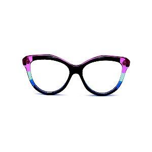 Armação para óculos de Grau Gustavo Eyewear G126 13. Cor: Preto, violeta e azul translúcido. Haste animal print.