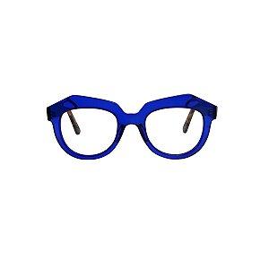 Armação para óculos de Grau Gustavo Eyewear G37 9. Cor: Azul translúcido. Haste animal print.