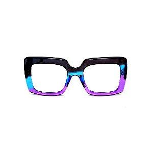 Armação para óculos de Grau Gustavo Eyewear G59 1. Cor: Preto, azul e violeta translúcido. Haste animal print.