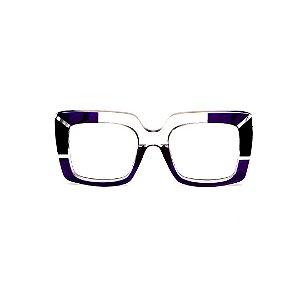 Armação para óculos de Grau Gustavo Eyewear G59 2. Cor: Violeta, preto e cristal translúcido. Haste preta.