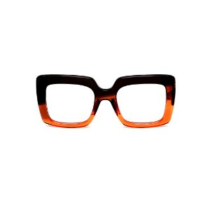 Armação para óculos de Grau Gustavo Eyewear G59 5. Cor: Preto, vermelho e laranja translúcido. Haste preta.