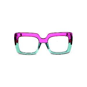 Armação para óculos de Grau Gustavo Eyewear G59 7. Cor: Violeta e acqua translúcido. Haste animal print.