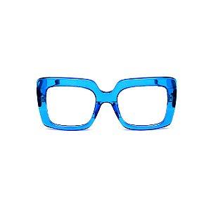 Armação para óculos de Grau Gustavo Eyewear G59 8. Cor: Azul translúcido. Haste preta.