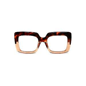 Armação para óculos de Grau Gustavo Eyewear G59 13. Cor: Animal print e âmbar translúcido. Haste animal print.