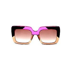 Óculos de Sol Gustavo Eyewear G59 8. Cor: Âmbar, preto e violeta translúcido. Haste violeta. Lentes marrom.