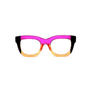 Armação para óculos de Grau Gustavo Eyewear G57 4. Cor: Vileta, preto e laranja translúcido. Haste violeta.