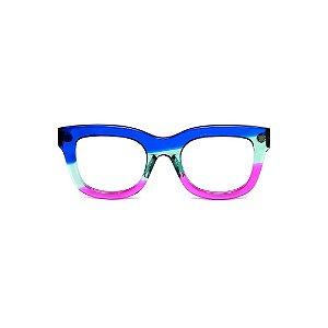 Armação para óculos de Grau Gustavo Eyewear G57 5. Cor: Azul, acqua e violeta translúcido. Haste azul.