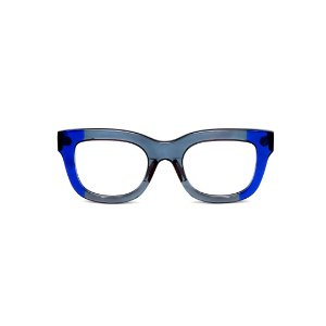 Armação para óculos de Grau Gustavo Eyewear G57 9. Cor: Fumê e azul translúcido. Haste azul.