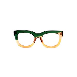 Armação para óculos de Grau Gustavo Eyewear G57 22. Cor: Verde, âmbar e laranja translúcido. Haste verde.