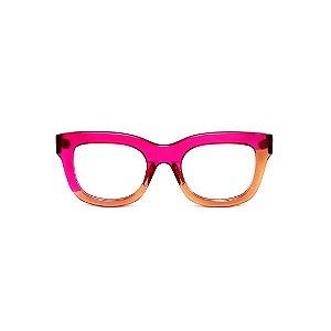 Armação para óculos de Grau Gustavo Eyewear G57 24. Cor: Violeta e âmbar translúcido. Haste violeta.