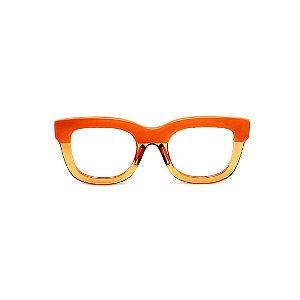 Armação para óculos de Grau Gustavo Eyewear G57 25. Cor: Laranja opaco e translúcido. Haste animal print.