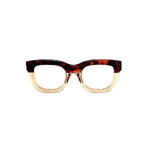 Armação para óculos de Grau Gustavo Eyewear G57 26. Cor: Animal print e âmbar translúcido. Haste animal print.