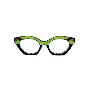 Armação para óculos de Grau Gustavo Eyewear G71 11. Cor: Verde, marrom translúcido e verde opaco. Haste preta.