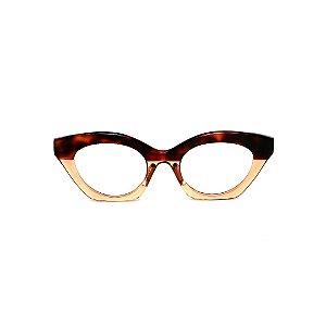 Armação para óculos de Grau Gustavo Eyewear G71 12. Cor: Animal print e âmbar translúcido. Haste animal print.