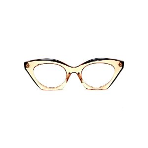 Armação para óculos de Grau Gustavo Eyewear G71 13. Cor: Âmbar translúcido e preto. Haste preta.