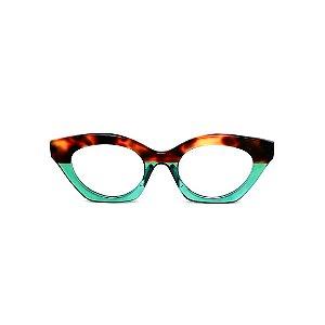 Armação para óculos de Grau Gustavo Eyewear G71 18. Cor: Animal print e verde translúcido. Haste animal print.