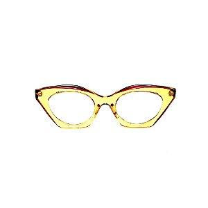 Armação para óculos de Grau Gustavo Eyewear G71 26. Cor: Laranja e marrom translúcido. Haste marrom.
