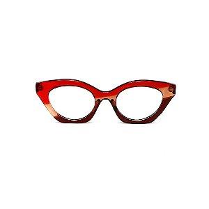 Armação para óculos de Grau Gustavo Eyewear G71 27. Cor: Vermelho, âmbar e marrom translúcido. Haste vermelha.
