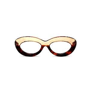Armação para óculos de Grau Gustavo Eyewear G36 1. Cor: Animal print e âmbar translúcido. Haste animal print.
