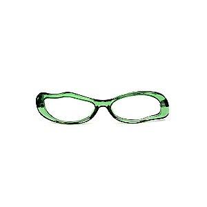 Armação para óculos de Grau Gustavo Eyewear G15 1. Cor: Verde translúcido. Haste animal print.