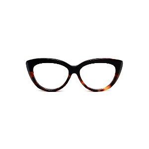Armação para óculos de Grau Gustavo Eyewear G65 4. Cor: Preto e animal print. Haste preta.