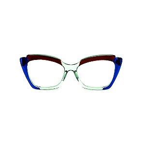 Armação para óculos de Grau Gustavo Eyewear G111 2. Cor: Acqua, marrom e azul translúcido. Haste azul.