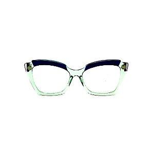 Armação para óculos de Grau Gustavo Eyewear G111 5. Cor: Acqua e vinho translúcido. Haste violeta.