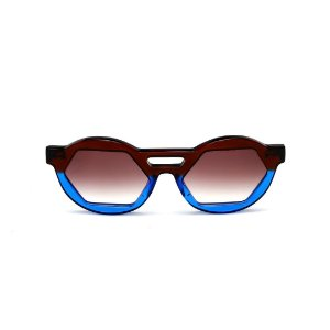 Óculos de Sol Gustavo Eyewear G134 9. Cor: Marrom e azul translúcido. Haste preta. Lentes marrom.