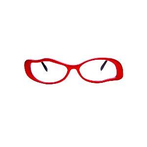 Armação para óculos de Grau Gustavo Eyewear G15 3. Cor: Vermelho opaco. Haste animal print.