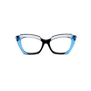 Armação para óculos de Grau Gustavo Eyewear G111 6. Cor: Azul, preto e acqua translúcido. Haste azul.