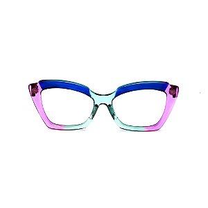 Armação para óculos de Grau Gustavo Eyewear G111 10. Cor: Violeta, azul e aqua translúcido. Haste violeta.