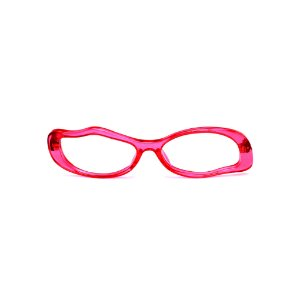 Armação para óculos de Grau Gustavo Eyewear G15 4. Cor: Rosa translúcido. Haste animal print.