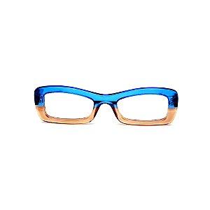 Armação para óculos de Grau Gustavo Eyewear G34 11. Cor: Azul e âmbar translúcido. Haste preta.