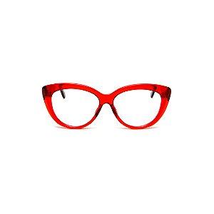 Armação para óculos de Grau Gustavo Eyewear G107 2. Cor: Vermelho translúcido. Haste animal print.