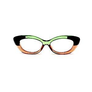 Armação para óculos de Grau Gustavo Eyewear G103 1. Cor: Preto, âmbar e verde translúcido. Haste verde.