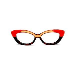 Armação para óculos de Grau Gustavo Eyewear G103 3. Cor: Vermelho, animal print e âmbar translúcido. Haste marrom.