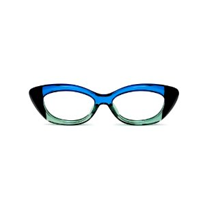 Armação para óculos de Grau Gustavo Eyewear G103 4. Cor: Preto, azul e acqua translúcido. Haste azul.