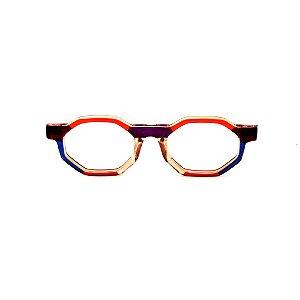 Armação para óculos de Grau Gustavo Eyewear G136 1. Cor: Vermelho, azul, âmbar e laranja. Haste animal print.