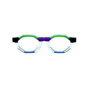 Armação para óculos de Grau Gustavo Eyewear G136 5. Cor: Preto, azul, verde e roxo translúcido. Haste azul.