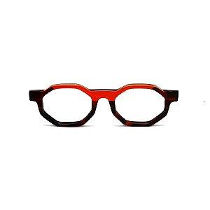 Armação para óculos de Grau Gustavo Eyewear G136 6. Cor: Animal print, vermelho e marrom. Haste marrom.