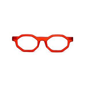 Armação para óculos de Grau Gustavo Eyewear G136 8. Cor: Vermelho fosco. Haste animal print.