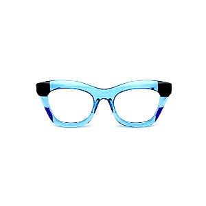 Armação para óculos de Grau Gustavo Eyewear G69 12. Cor: Preto, azul escuro e azul claro translúcido. Haste fumê.
