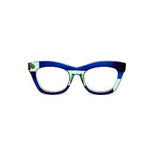 Armação para óculos de Grau Gustavo Eyewear G69 14. Cor: Azul, acqua e preto translúcido. Haste animal print.