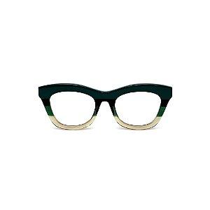 Armação para óculos de Grau Gustavo Eyewear G69 16. Cor: Verde opaco, preto, verde e fumê translúcido. Haste preta.
