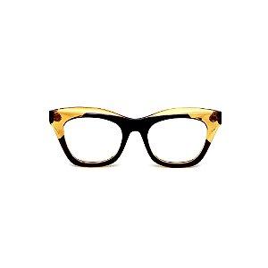 Armação para óculos de Grau Gustavo Eyewear G69 17. Cor: Preto e âmbar translúcido. Haste animal print.