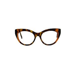 Armação para óculos de Grau Gustavo Eyewear G65 100. Cor: Animal print com listras âmbar e preto. Haste animal print.