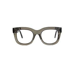 Armação para óculos de Grau Gustavo Eyewear G57 26. Cor: Fumê translúcido. Haste preta.