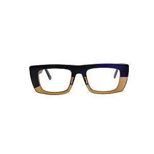 Armação para óculos de Grau Gustavo Eyewear G80 700. Cor: Preto, âmbar e azul translúcido. Haste preta.